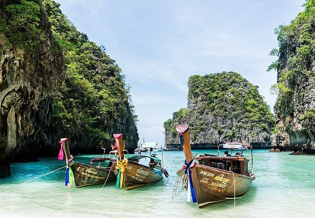 phuket beack with 3 ships