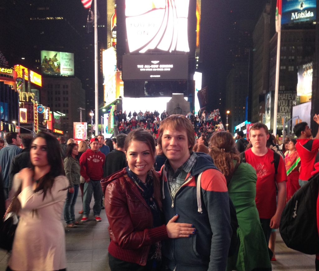 Dan & Michelle in time square on first trip together