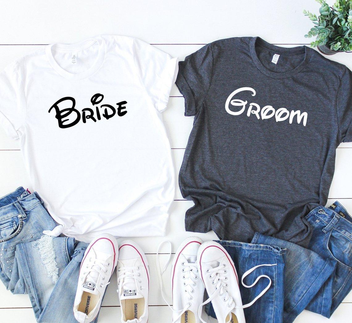 Bride & Groom Disney Font Matching Tee