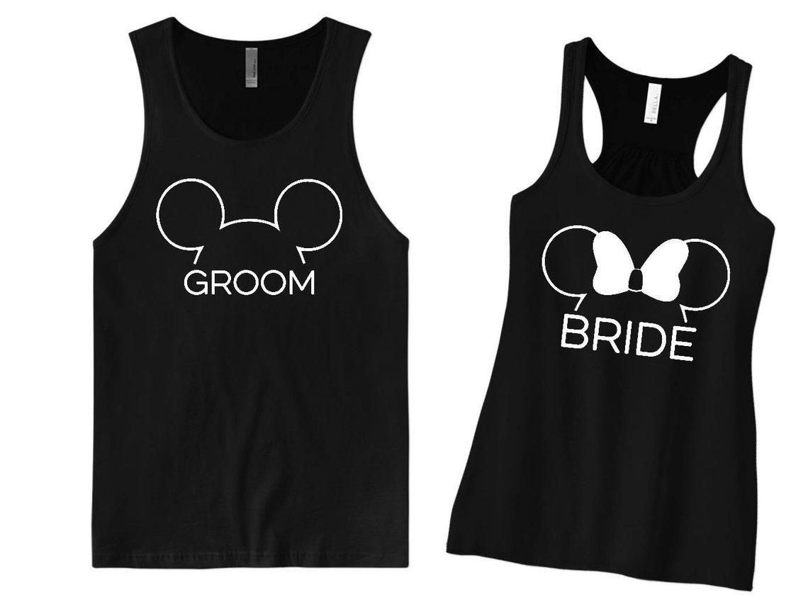 bride and groom matching Disney honeymoon shirts