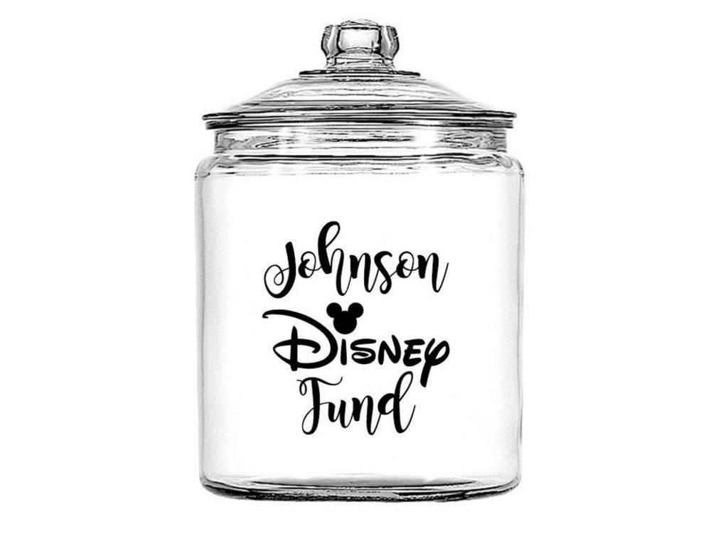 Customizable Disney Vacation Fund Jar Decal