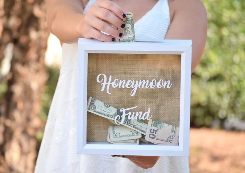 Burlap and white honeymoon fund box