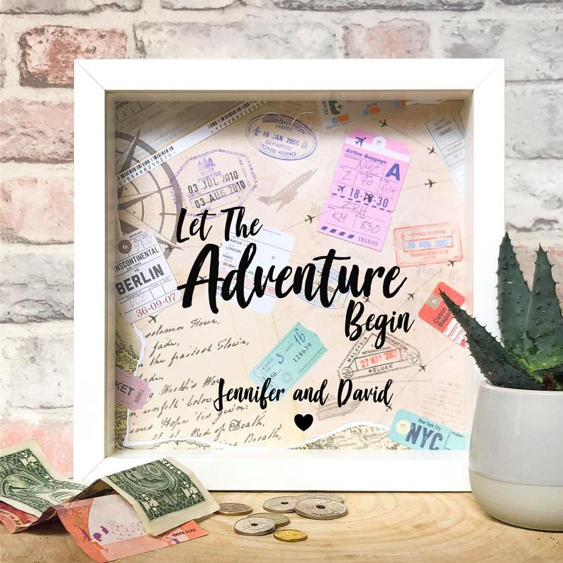 Let the adventure begin honeymoon fund box