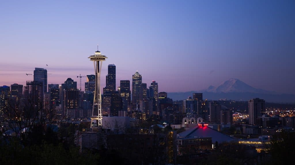 The romantic Seattle skyline is what honeymooners love