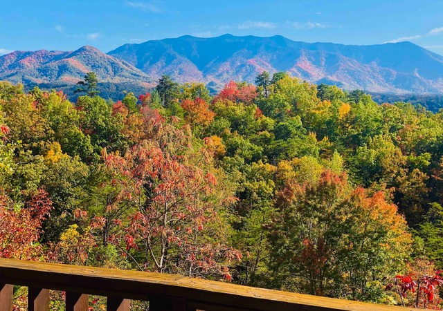 View from gatlinburg cabin of mountains while leafs change