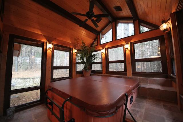 enclosed hot tub at cabin