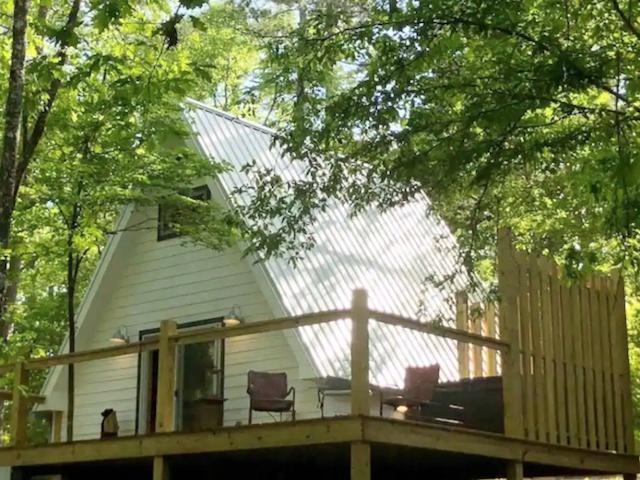 A frame cabin exterior