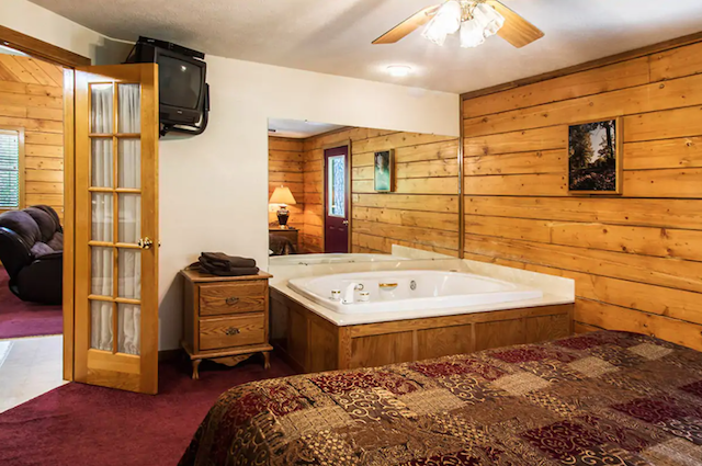 Jacuzzi tub in cabin bedroom