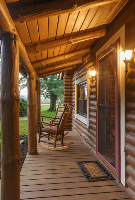 Front porch of cabin in Pennslyvania