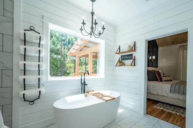 Porch + Pine Cabin bathroom tub